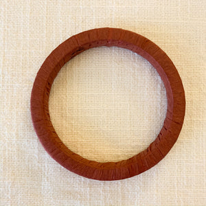 Raffia Wrapped Bangle Bracelet in Rust