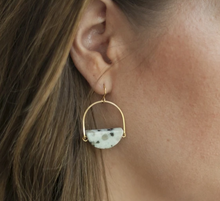 Load image into Gallery viewer, Shop our Kiwi Jasper Half Circle Stone Brass Drop Earrings and others at Federal & Black
