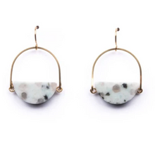 Load image into Gallery viewer, Shop Michelle Starbuck Kiwi Jasper Half Circle Stone Brass Drop Earrings and others at Federal & Black