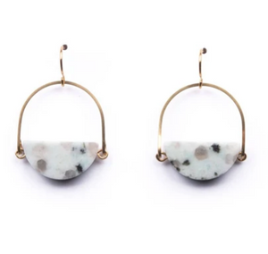 Shop Michelle Starbuck Kiwi Jasper Half Circle Stone Brass Drop Earrings and others at Federal & Black