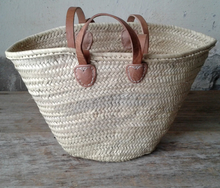 Load image into Gallery viewer, Shop our Classic French Market Basket with leather shoulder & hand straps, handwoven by Artisans | Federal & Black