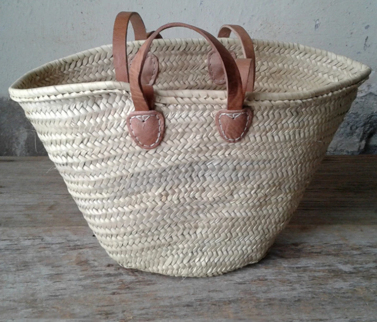 Shop our Classic French Market Basket with leather shoulder & hand straps, handwoven by Artisans | Federal & Black