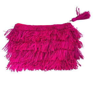 Shop handwoven raffia clutch with fringe in Fushia at Federal & Black