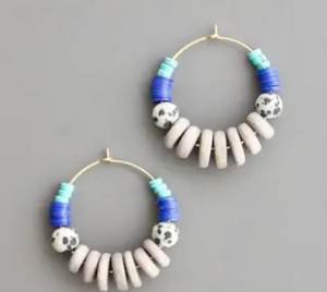 Shop the Lavender Bead, Dalmation & Brass Hoops Earrings at Federal & Black