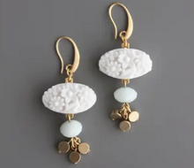 Load image into Gallery viewer, Vintage Chalk White Pressed Glass, Amazonite & Brass Drop Earrings at Federal & Black