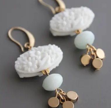 Vintage Chalk White Pressed Glass, Amazonite & Brass Drop Earrings at Federal & Black