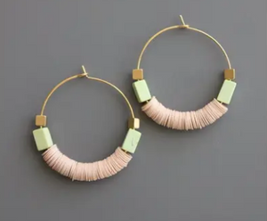 Blush Pink Vulcanite, Magnesite & Brass Bead Hoops