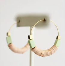 Load image into Gallery viewer, Blush Pink Vulcanite, Magnesite & Brass Bead Hoops