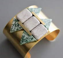 Load image into Gallery viewer, Shop the Magnesite, Green Spotted Stone & Brass Cuff by David Aubrey at Federal & Black