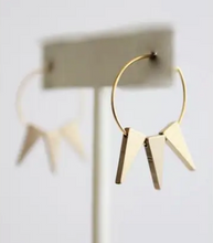 Load image into Gallery viewer, Shop the David Aubrey 18k gold plated spike hoops at Federal & Black