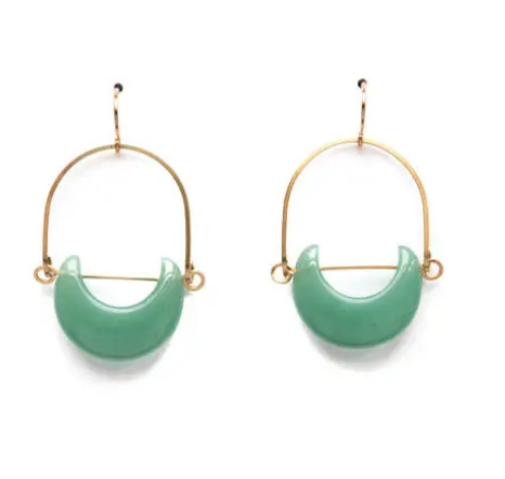 Shop our Adventurine Eclipse & Gold Plated Drop Earrings at Federal & Black