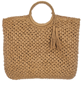Woven Straw Shopper Tote with Tassels in Natural