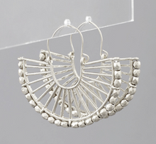 Load image into Gallery viewer, Shop the Tulum Fan Hoops in worn silver finish made of metal bars & beads at Federal & Black