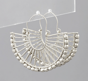 Shop the Tulum Fan Hoops in worn silver finish made of metal bars & beads at Federal & Black
