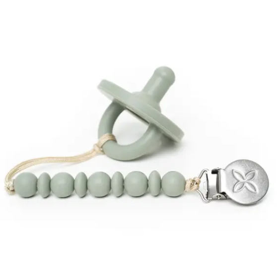 Shop the sage green pacifier and matching pacifier clip and teether at Federal & Black