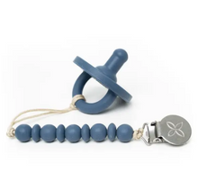 Load image into Gallery viewer, Shop the pacifier and matching pacifier clip and teether in river blue at Federal & Black