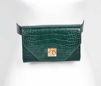 Shop our Emerald Green Crocodile Embossed Belt & Crossbody Bag at Federal & Black