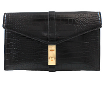 Load image into Gallery viewer, Shop the Black Crocodile Embossed Clutch with Gold Turn Lock at Federal & Black