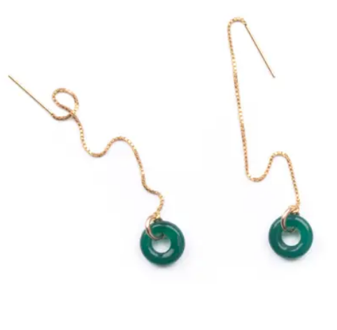 Shop the Green Agate Loop Threader Earrings at Federal & Black