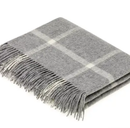 Shop the Windowpane Merino Lambswool Throw in grey at Federal & Black