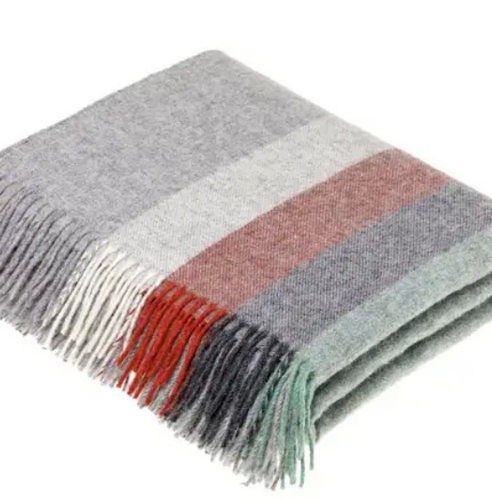 Shop the Harley Stripe Merino Lambswool Throw in Red & Mint at Federal & Black