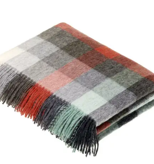Shop the Harlequin Merino Lambswool Throw in Red & Mint at Federal & Black