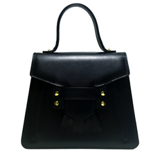 Load image into Gallery viewer, Shop the Camille Top Handle Bag in Black made of Italian Calfskin at Federal & Black