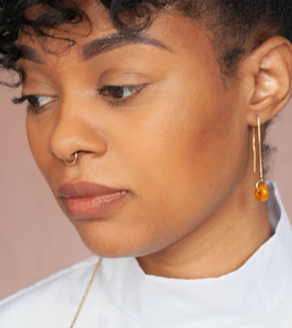 Shop the Yellow Quartz Loop Threader Earrings by Michelle Starbuck at Federal & Black