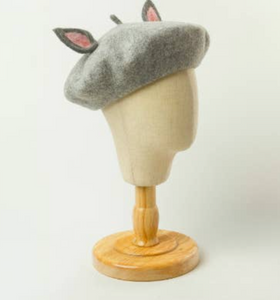 Shop the Emilie Heather Grey Girls Beret with Felt Ears at Federal & Black