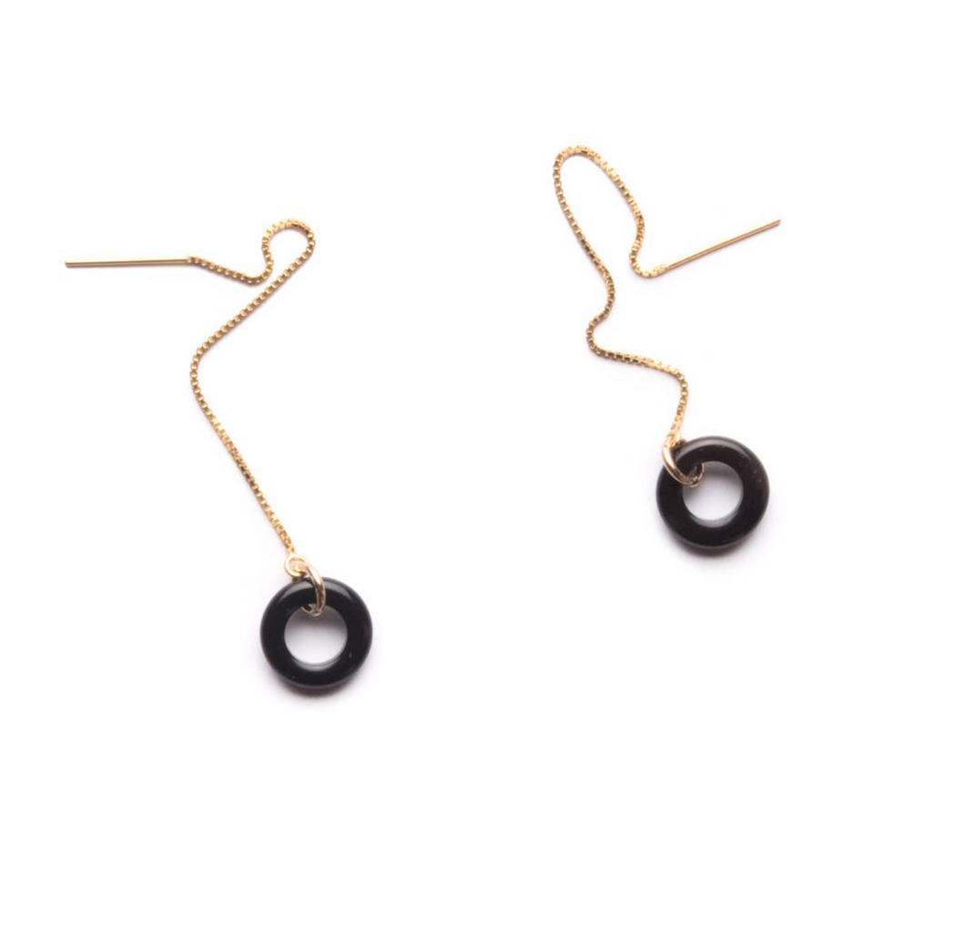 Shop the Black Agate Loop Threaders by Michelle Starbuck at Federal & Black