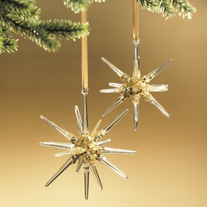 Glass & Gold Stardust Snowflake Ornament