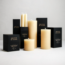 Load image into Gallery viewer, Cream Pure Beeswax Taper Candles by Tatine