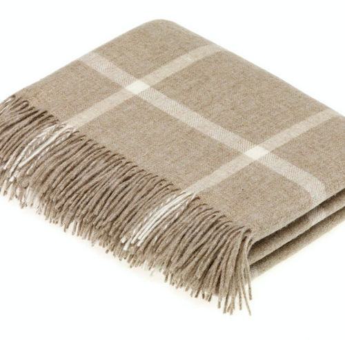 Shop the Beige Windowpane pattern throw made of 100% Lambswool by Bronte Moon at Federal & Black