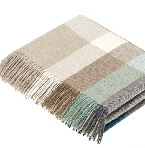 Harley Stripe Merino Lambswool Throw in Eucalyptus
