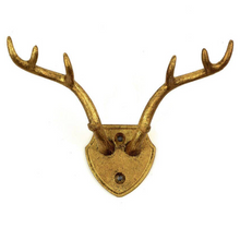 Load image into Gallery viewer, Cast Iron Gold Antler Hook