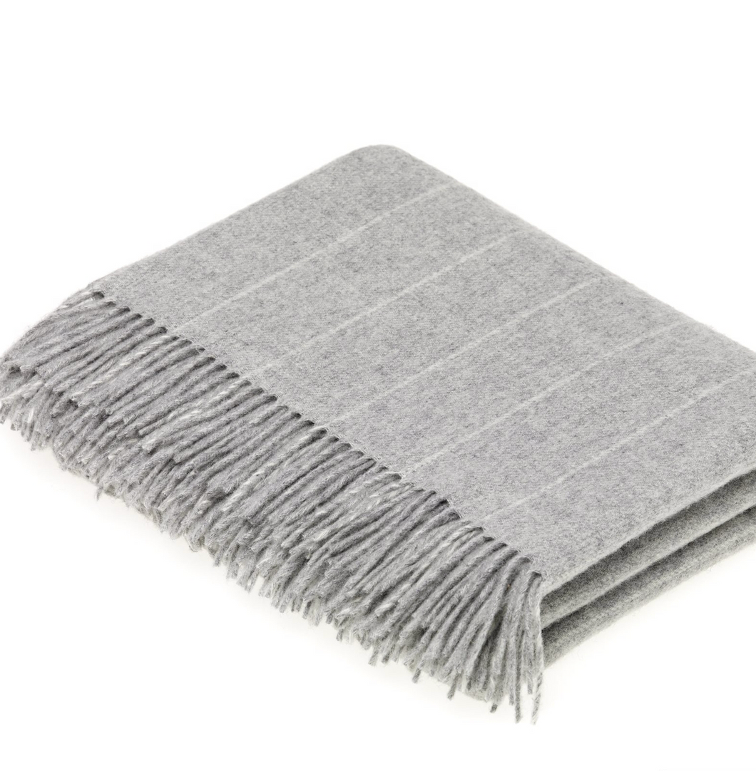 Shop the Grey Pinstripe Throw made of 100% Lambswool by Bronte Moon at Federal & Black