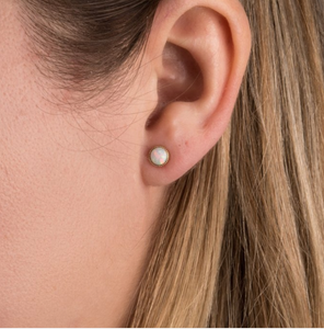 Shop the Opal & Brass Stud Earrings at Federal & Black
