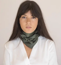 Load image into Gallery viewer, Klein 100% Silk Bandana Scarf in Emerald