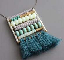 "Load image into Gallery viewer, Shop the David Aubrey Brass Magnesite 30"" Necklace w/ Czech Glass at Federal & Black"