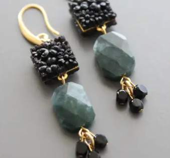 18k Gold Plated Earrings w/ Vintage Jet Glass Cabochons & Moss Agate