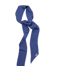 Load image into Gallery viewer, Debbie 100% Silk Skinny Scarf in Navy