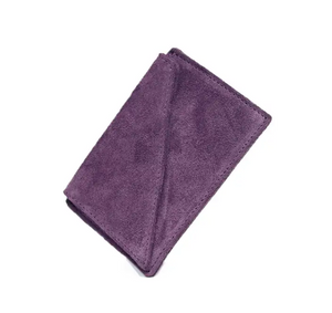 Suede Card Holder Wallet in Purple