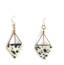 Load image into Gallery viewer, Dalmatian Triangle Earrings