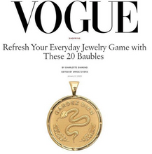 Load image into Gallery viewer, Jane Winchester 14k Gold Free Coin Pendant featured in Vogue Magazine at Federal & Black