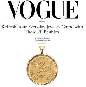 Jane Winchester 14k Gold Free Coin Pendant featured in Vogue Magazine at Federal & Black