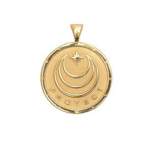 Shop the gold Protect Coin Pendant and others by Jane Winchester at Federal & Black