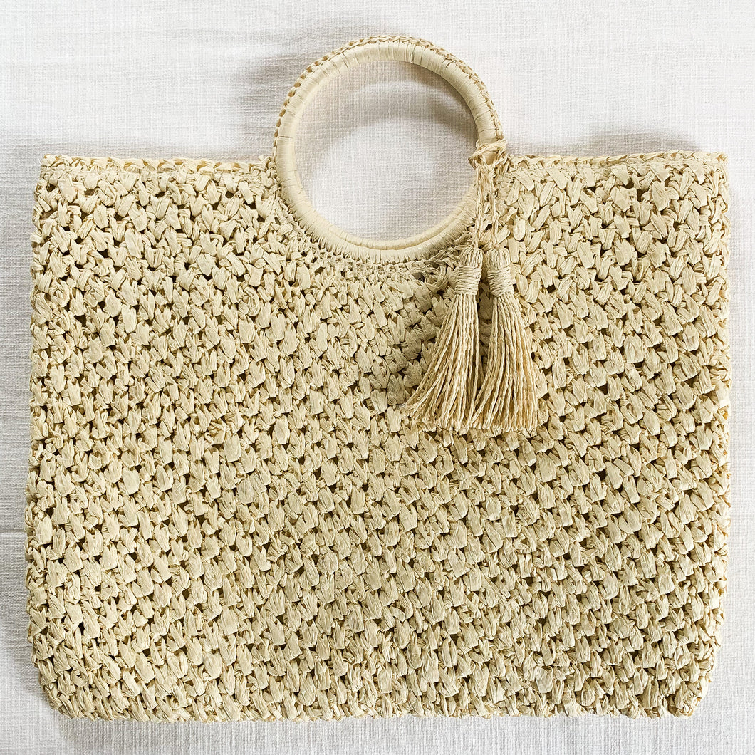 Shop this woven straw shopper tote with tassels at Federal & Black | Free Shipping