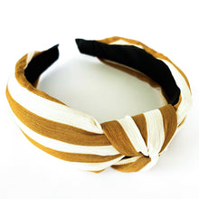 Load image into Gallery viewer, Top knot headband in mustard & ivory stripe at Federal & Black