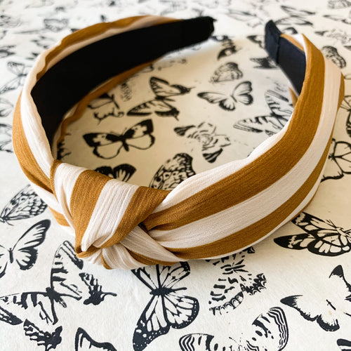 Top knot headband in mustard & ivory stripe at Federal & Black