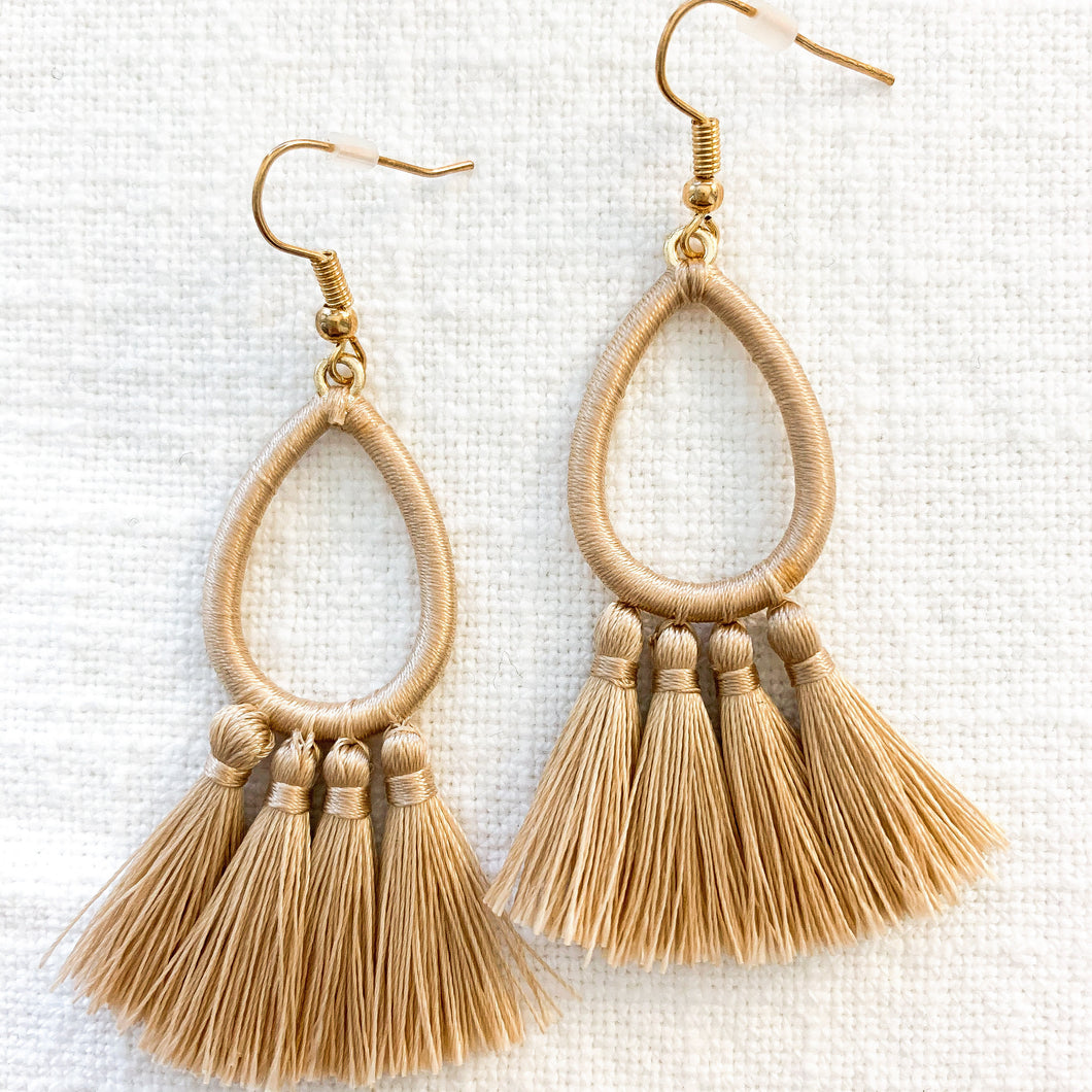 Shop our Teardrop & Tassel Earrings in Beige at Federal & Black